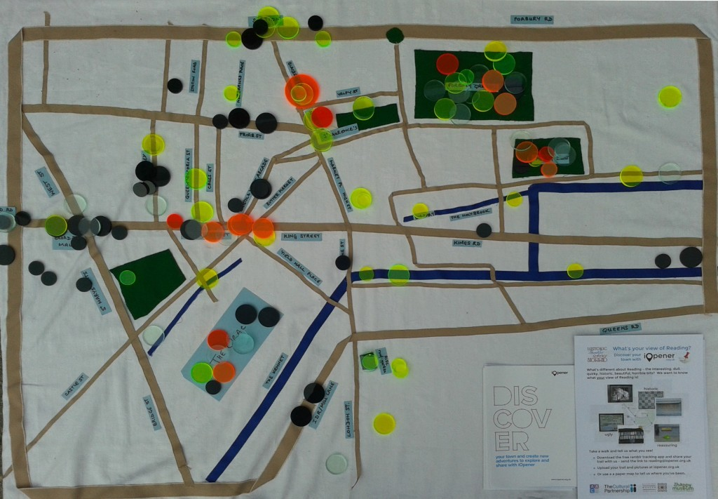 Simple table cloth map of central Reading showing good & bad trail points placed by participants 21/3/15