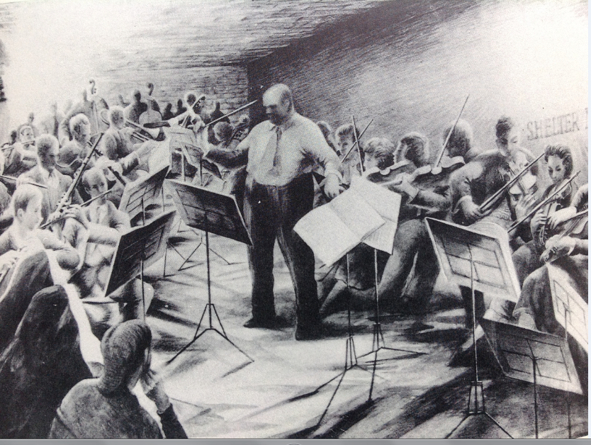 The University orchestra practising in the air raid shelter